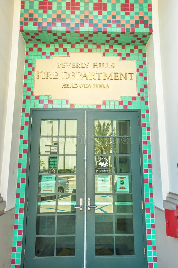 Beverly Hills Fire Department. Los Angeles, California, United States - August 6, 2018: close-up of Beverly Hills Fire Department Headquarters entrance near stock photo