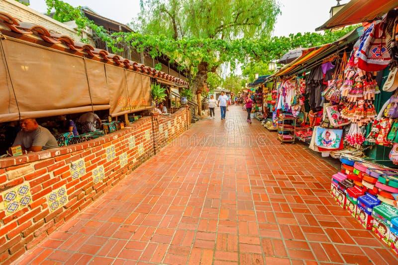 Olvera Street El Pueblo. Los Angeles, California, United States - August 9, 2018: El Paseo, Mexican restaurant and traditional market along Olvera Street, a stock photo