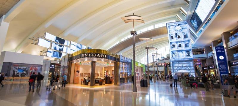 LOS ANGELES, CALIFORNIA, US - Jun 17 2017: Tom Bradley International Airport departure terminal duty free shops in Los Angeles royalty free stock photography