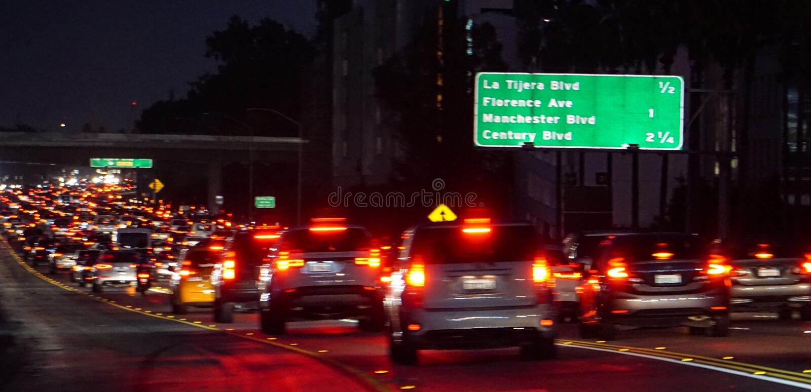 Night traffic congestion on California I-405 freeway, Los Angeles. Los Angeles, California USA – Sept. 14, 2018: Hundreds of cars in multiple lanes make royalty free stock photos