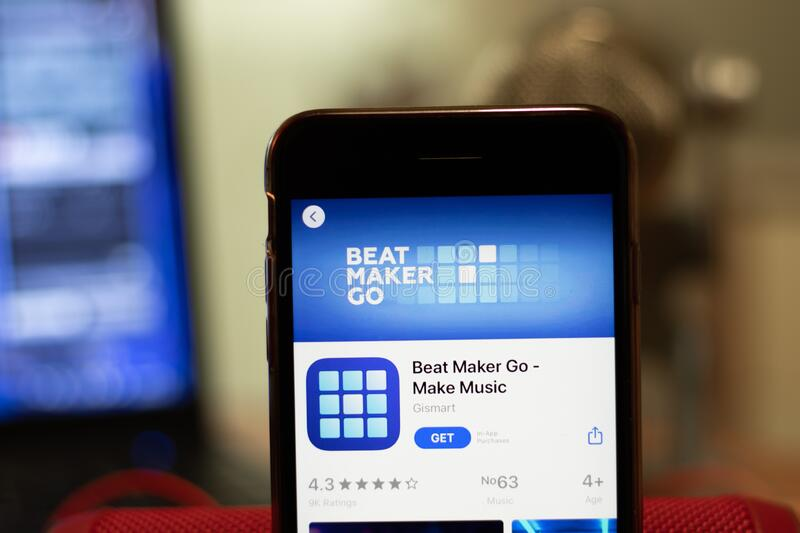 Los Angeles, California, USA - 16 April 2020: Beat Maker Go logo on screen close up. App store icon visible on phone display with. Blurry background royalty free stock photography