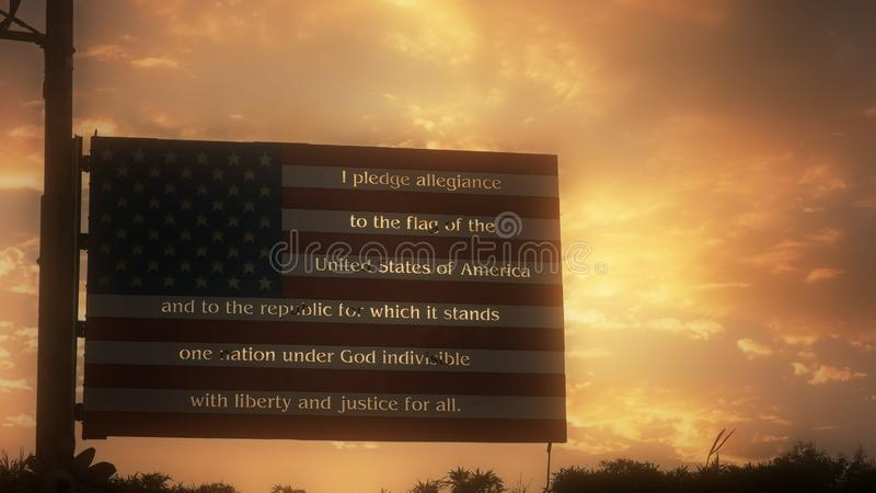 LOS ANGELES, CALIFORNIA, USA - AUGUST 25, 2015: american flag metal sign with the pledge of allegiance on the stripes. Against a sunset sky stock photography