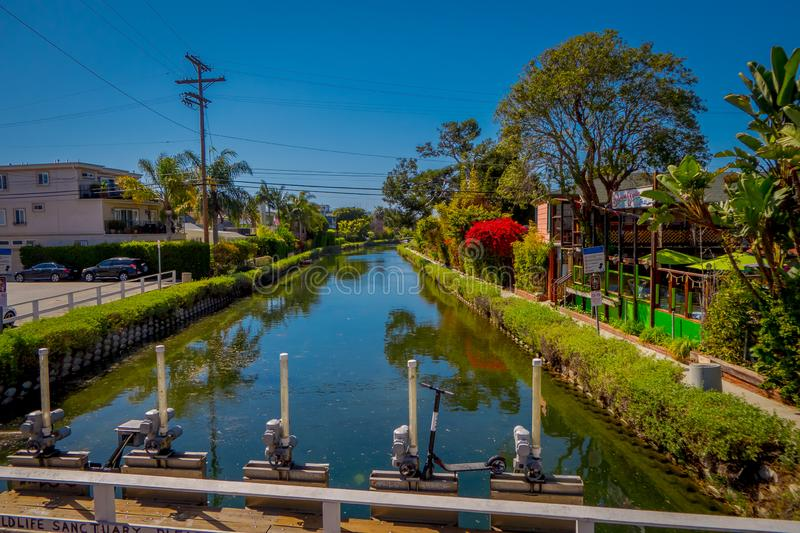Los Angeles, California, USA, AUGUST, 20, 2018: Gorgeous outdoor view of old canals of Venice, build by Abbot Kinney in stock photo