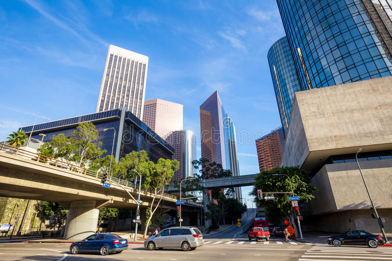 Los Angeles, California, USA downtown cityscape. With blue sky stock image