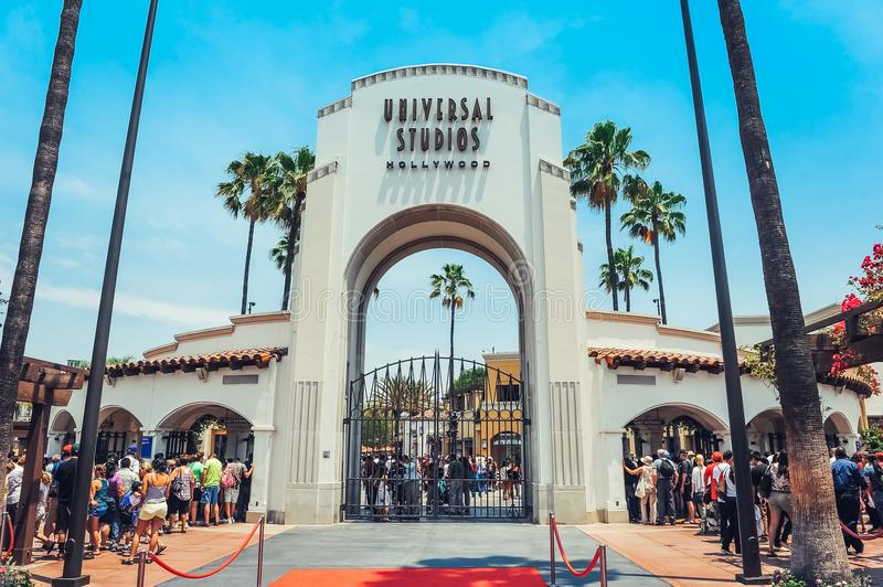 Los Angeles/California/USA - 07.19.2013: Entrance gate for the Universal Studios Hollywood. Lots of people waiting in the line. stock photo