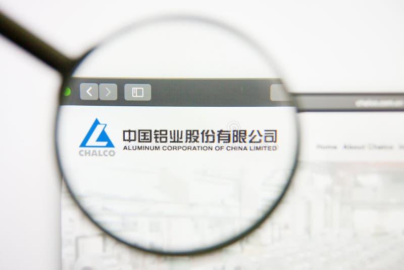 Los Angeles, California, USA - 14 February 2019: Aluminum Corp of China website homepage. Aluminum Corp of China logo. Visible on screen royalty free stock photo