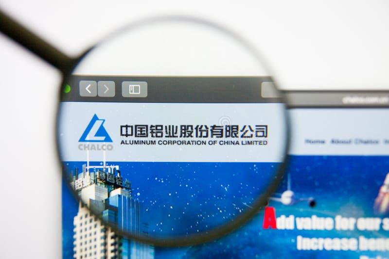 Los Angeles, California, USA - 14 February 2019: Aluminum Corp of China website homepage. Aluminum Corp of China logo. Visible on screen stock photos