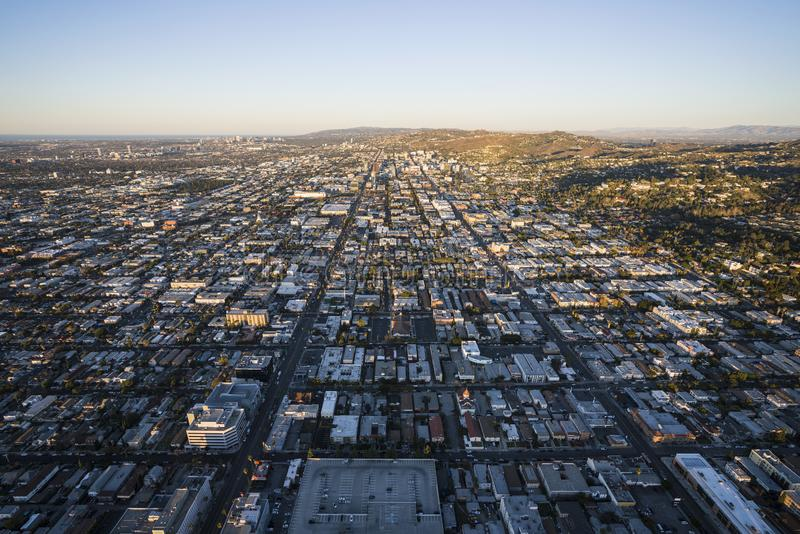 Hollywood Streets Morning Aerial Los Angeles royalty free stock photography