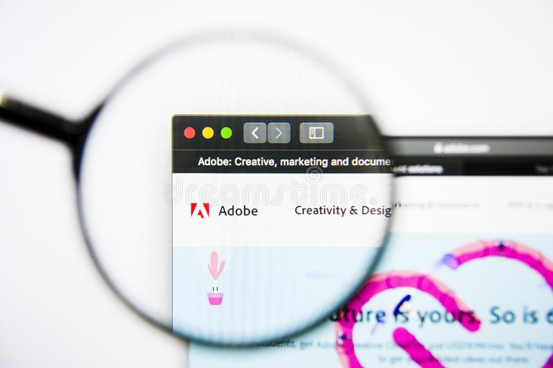 Los Angeles, California, USA - 25 January 2019: Adobe Systems website homepage. Adobe logo visible on display screen. stock photo