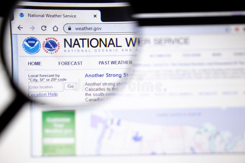 Los Angeles, California, USA - 25 January 2020: National Weather Service website page in browser on laptop screen for illustration. Of article, Illustrative royalty free stock photography