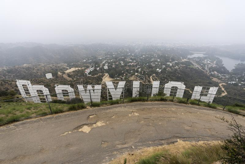 Hollywood Sign Foggy Morning View stock photography