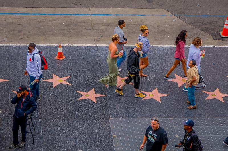 Los Angeles, California, USA, JUNE, 15, 2018: Above view of unidentified tourists in walk of fame in Los Angeles royalty free stock image