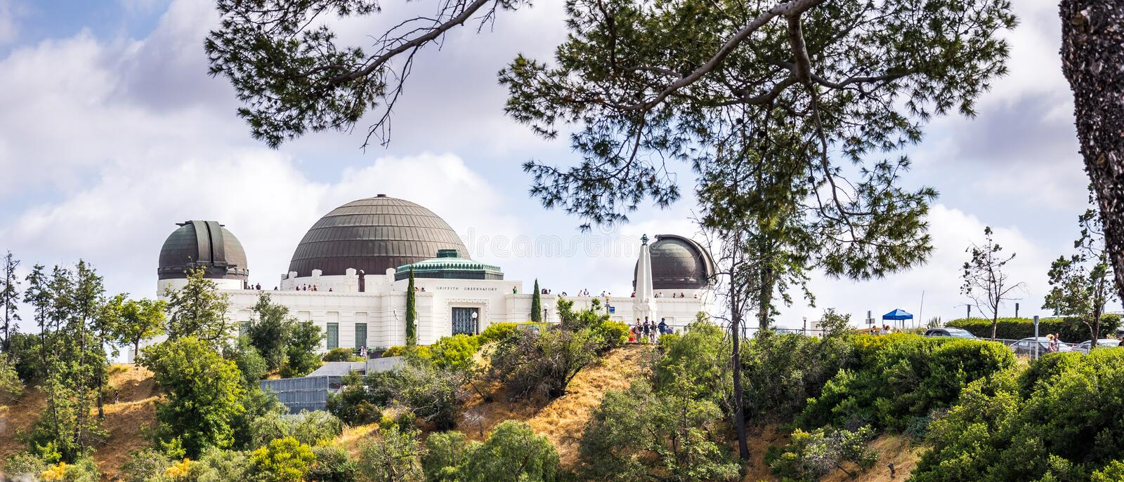 Astronomical Observatory and Griffith Park. Tourist attraction of the DLOS of Angeles, CA royalty free stock photography