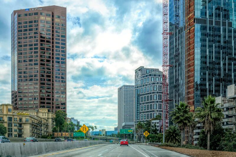 Morning in downtown Los Angeles, California. Empty streets and tall office buildings royalty free stock image