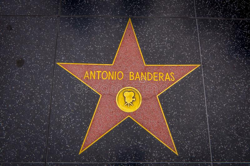 Los Angeles, California, USA, JUNE, 15, 2018: Outdoor view of Antonio Banderas` star on Hollywood Walk of Fame, in royalty free stock images