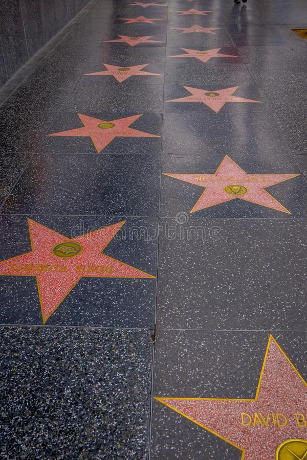 Los Angeles, California, USA, JUNE, 15, 2018: Outdoor view of the Hollywood Walk Of Fame stars on Hollywood Boulevard stock image