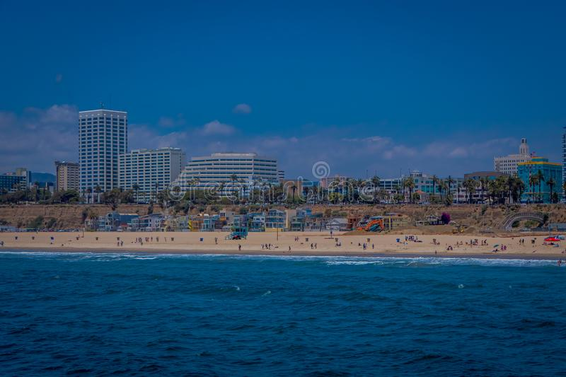 Los Angeles, California, USA, JUNE, 15, 2018: Outdoor view of Santa Monica State Beach, in the back residential stock photography