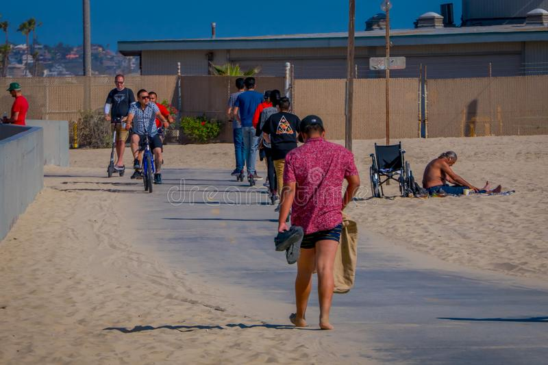 Los Angeles, California, USA, JUNE, 15, 2018: Outdoor view of unidentified people at Venice Beach in Santa Monica, part. Of Los Angeles is popular by domestic royalty free stock photos