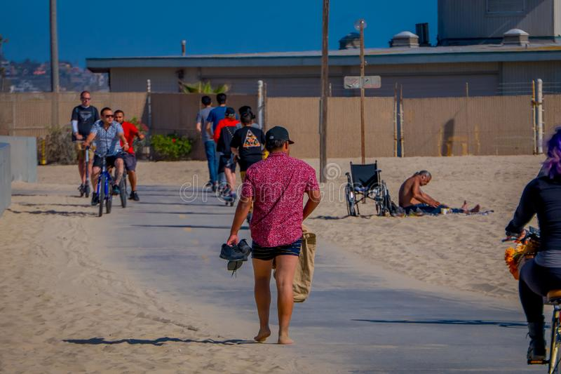 Los Angeles, California, USA, JUNE, 15, 2018: Outdoor view of unidentified people at Venice Beach in Santa Monica, part. Of Los Angeles is popular by domestic royalty free stock photography