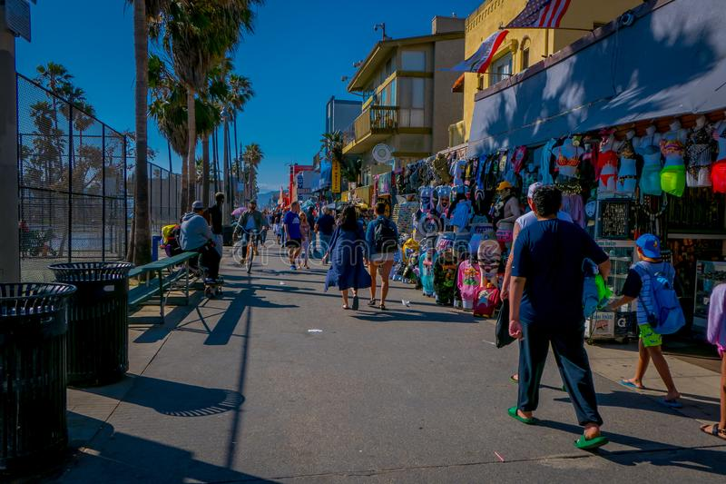 Los Angeles, California, USA, JUNE, 15, 2018: Outdoor view of unidentified people walk along the Venice Beach Boardwalk. On a sunny summer day in L.A stock images