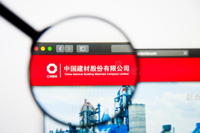 Los Angeles, California, USA - 5 March 2019: China National Building website homepage. China National Building logo visible on stock images