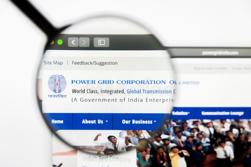 Los Angeles, California, USA - 12 March 2019: Illustrative Editorial, Power Grid of India website homepage. Power Grid. Of India logo visible on screen royalty free stock image