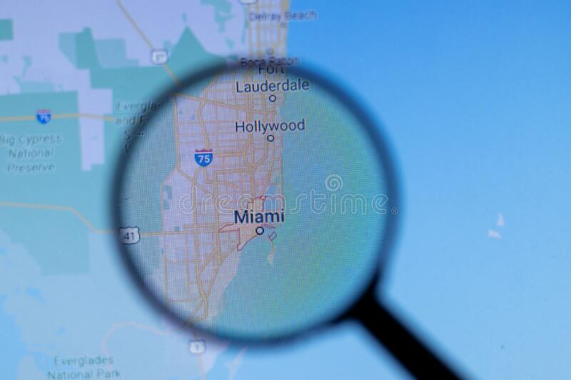 Los Angeles, California, USA - 1 May 2020: Miami City Town name with location on map close up, Illustrative Editorial.  royalty free stock image