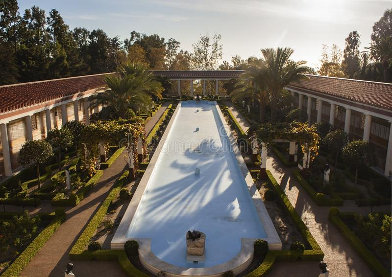 LOS ANGELES. CALIFORNIA/USA, NOVEMBER 18th 2015: Factual description of the image content, Empty pool at the Getty villa during a stock images