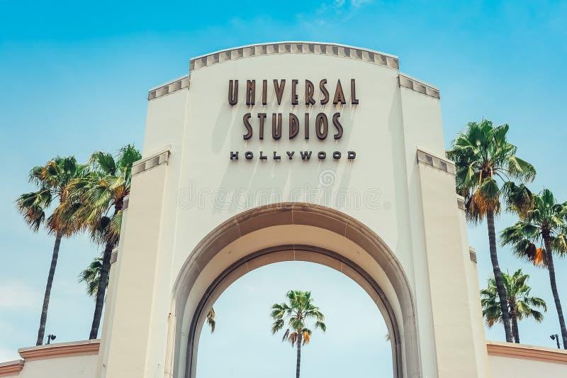 Los Angeles/California/USA - 07 19 2013 : Porte d'entrée pour les studios universels Hollywood photos stock