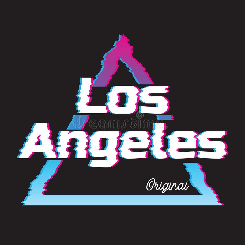 Los Angeles city glitch effect retro illustration. stock illustration