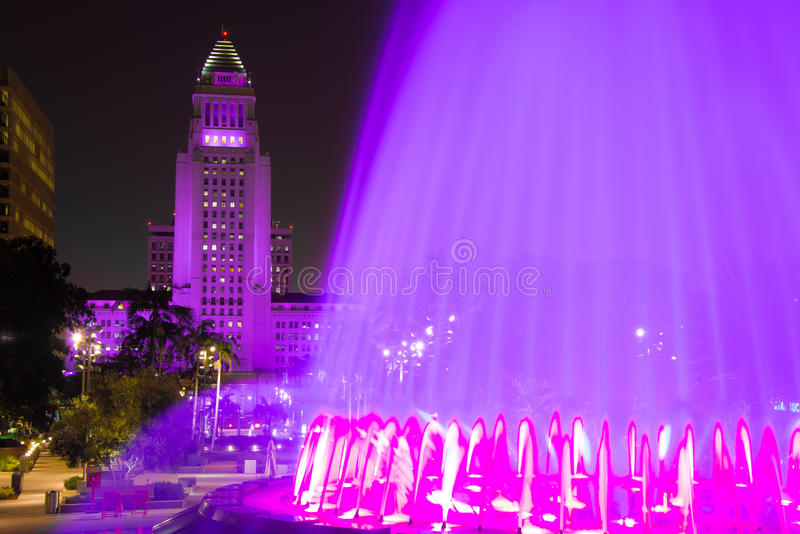 Los Angeles City Hall as seen from the Grand Park stock photography