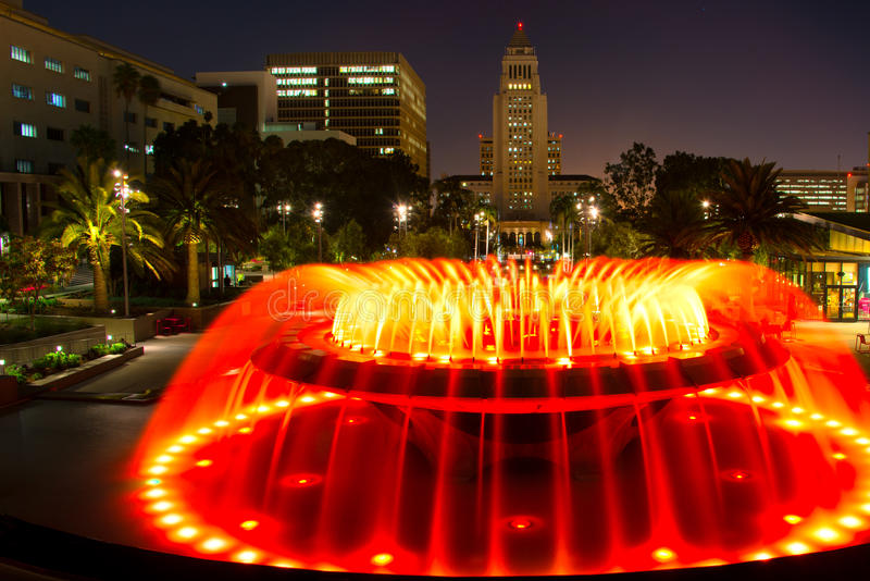 Los Angeles City Hall as seen from the Grand Park stock photo
