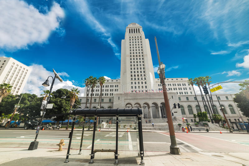 Los Angeles city hall on a cloudy day. California royalty free stock photos