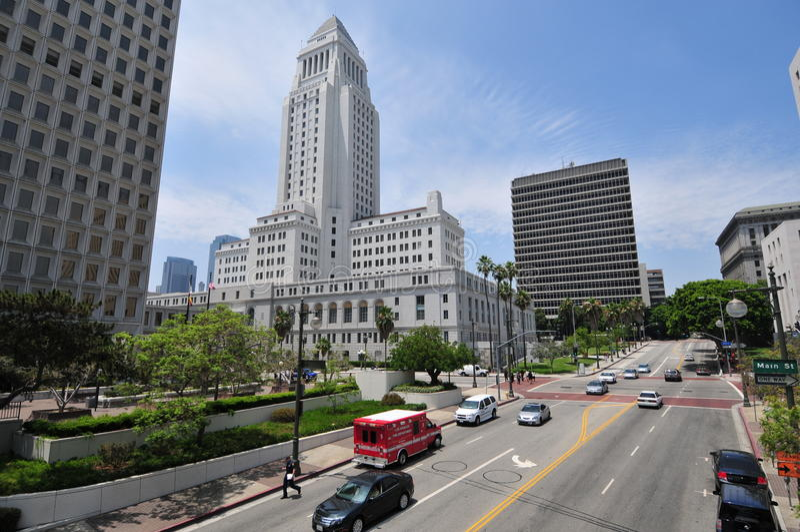 Los Angeles City Hall downtown LA royalty free stock image