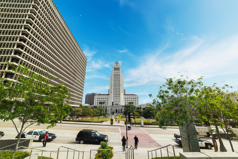 Los Angeles city hall seen from Grand park. LOS ANGELES, CALIFORNIA - OCTOBER 27, 2016: Los Angeles city hall seen from Grand park stock photos