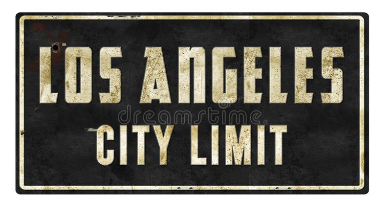 Los Angeles City Limit Retro Sign. Los Angeles City Limit vintage street sign metal tin rustic old antique arrow Oscars Academy Movies Logo stock image