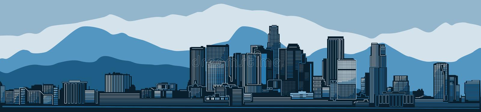 Los Angeles city skyline detailed silhouette. Vector illustration. Los Angeles city skyline vector illustration mountains background. Blue winter scene royalty free illustration