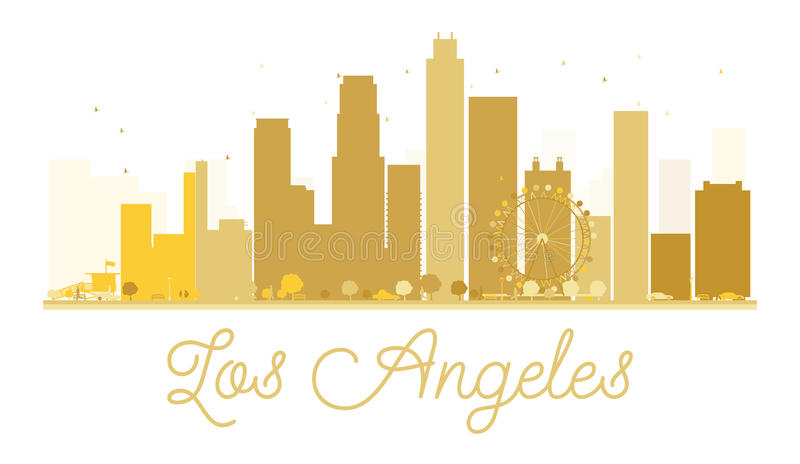 Los Angeles City skyline golden silhouette. royalty free illustration
