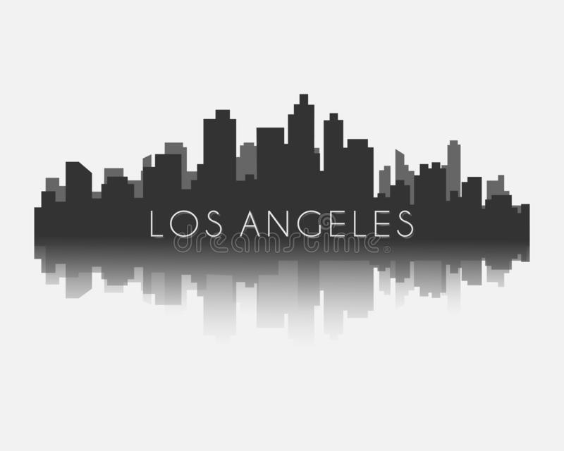 Los angeles city skyline silhouette with reflection vector illustration. Los angeles city skyline silhouette on white background vector illustration eps 10 vector illustration