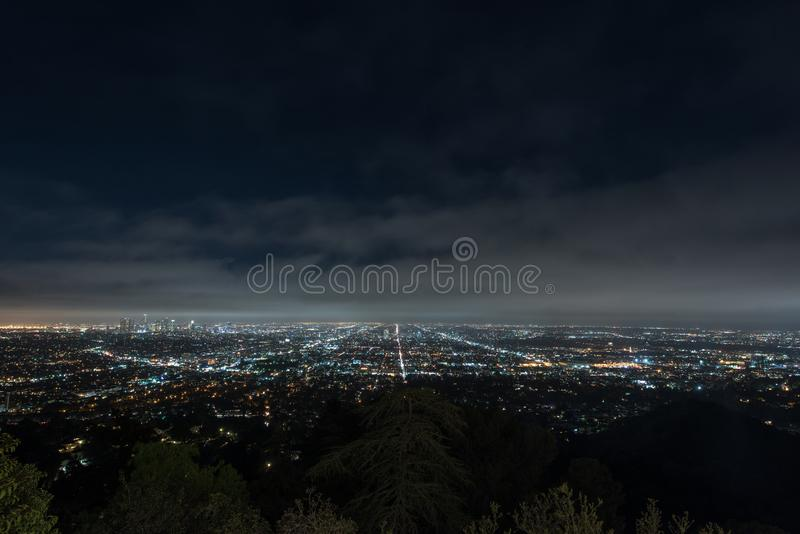 Los Angeles cityscape at night royalty free stock images