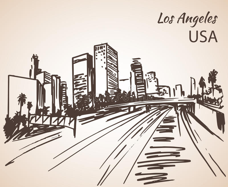 Los Angeles cityscape sketch. On white background stock illustration