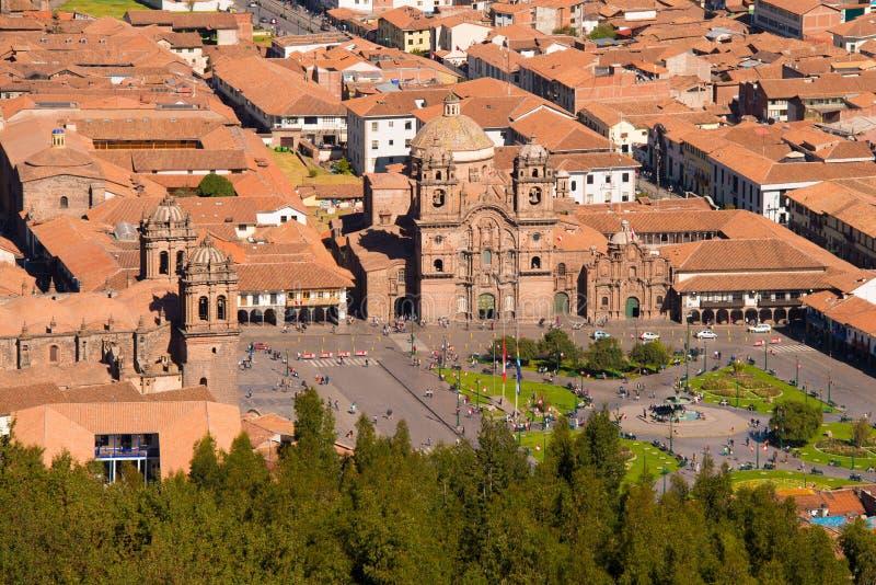 Los Angeles Compania i katedra przy Placem De Armas w Cuzco zdjęcia royalty free
