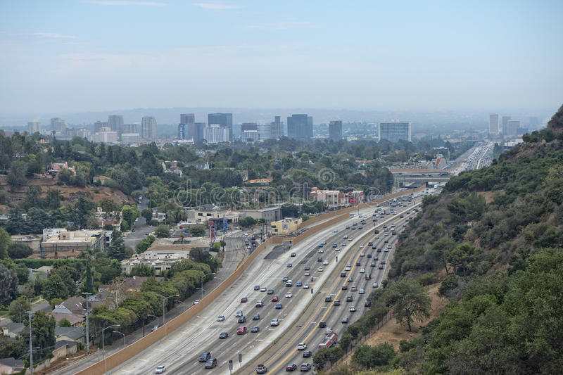 Los angeles congested highway stock photography