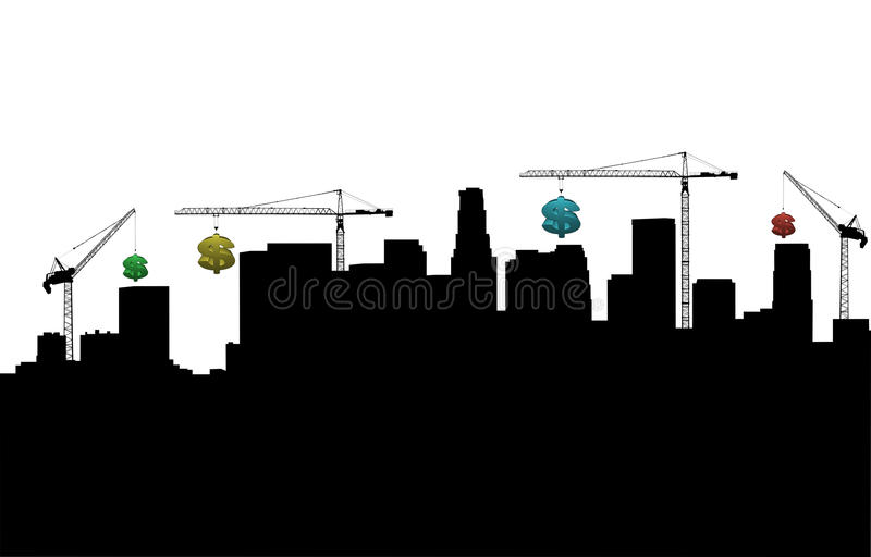 Download Los Angeles With Cranes And Dollars Royalty Free Stock Image - Image: 11253156