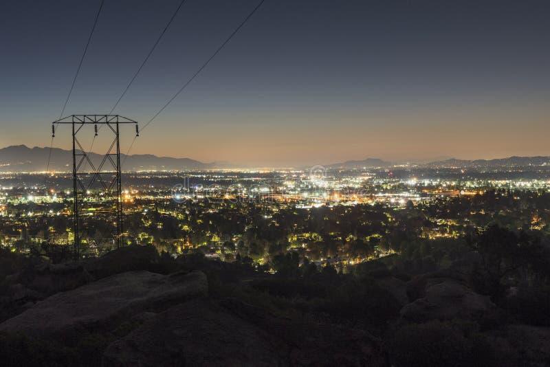 Los Angeles Dawn San Fernando Valley View arkivbild