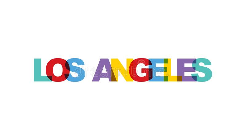 Los Angeles, de kleur van de uitdrukkingsoverlapping geen transparantie Concept eenvoudige teksten voor typografieaffiche, sticke vector illustratie