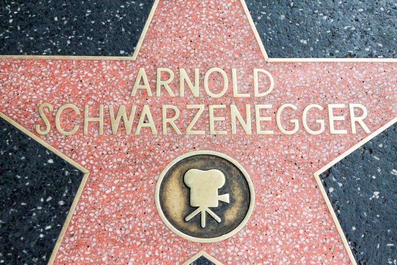Los Angeles, de V.S. - April, 2018: Arnold Schwarzenegger-ster bij Hollywood-straatboulevard in Los Angeles, Californië, de V.S.  royalty-vrije stock afbeeldingen