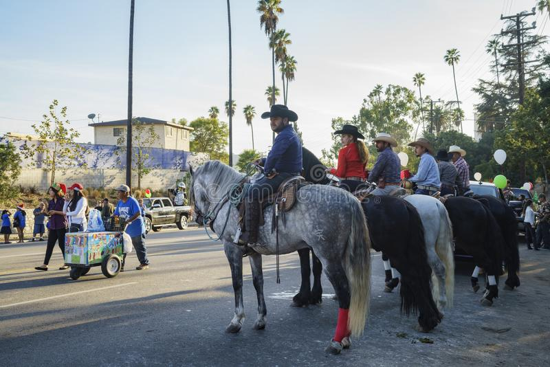 Highland Park christmas parade. Los Angeles, DEC 3: Highland Park christmas parade on DEC 3, 2017 at Los Angeles, United States royalty free stock image