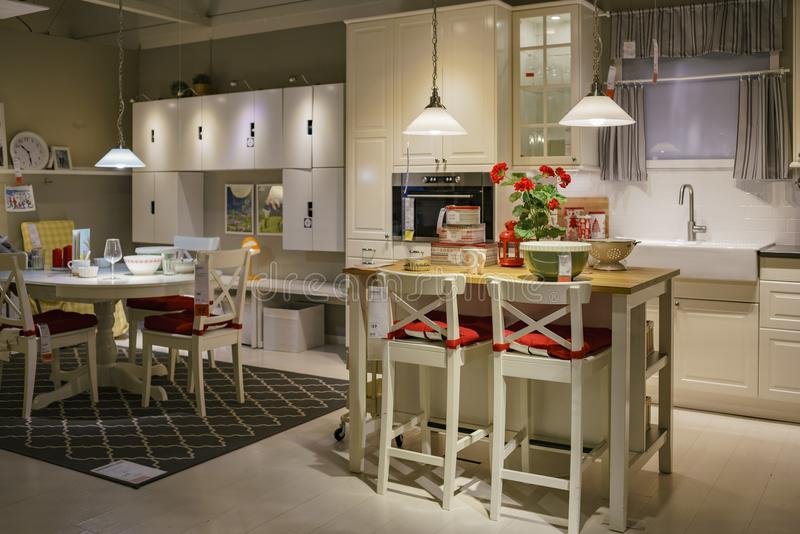 Interior view of the famous IKEA furniture stores. Los Angeles, DEC 28: Interior view of the famous IKEA furniture stores on DEC 28, 2017 at Los Angeles royalty free stock photos
