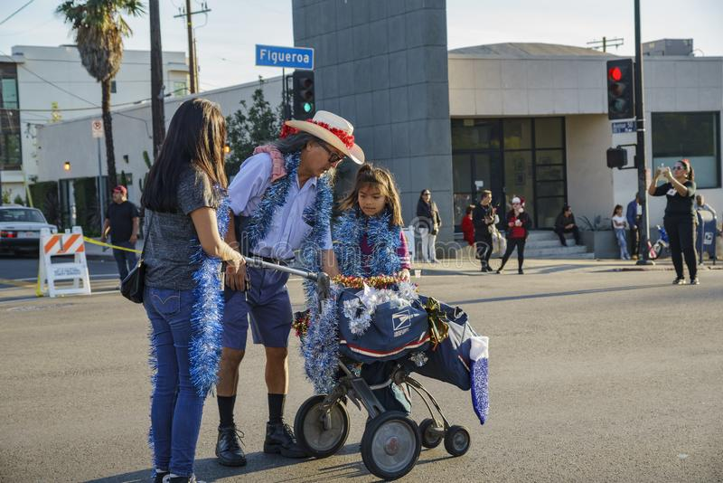 Highland Park christmas parade. Los Angeles, DEC 3: USPS postman of Highland Park christmas parade on DEC 3, 2017 at Los Angeles, United States stock images